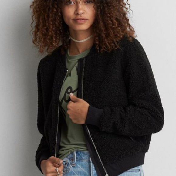 43cedb711 AE Ahh-mazingly Soft Bomber Jacket Black Sherpa Boutique
